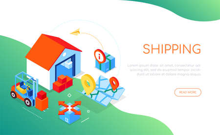 Shipping service - modern colorful isometric web banner