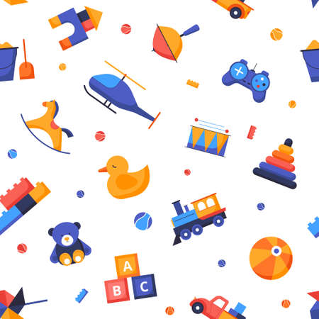 Toys - vector flat design style seamless pattern