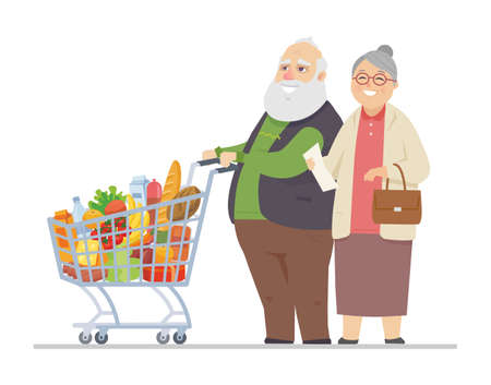 Senior man and woman shopping - flat design style illustration Ilustracja