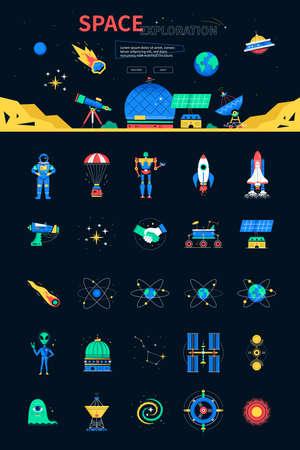 Space exploration - colorful flat design style web banner 免版税图像