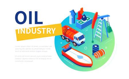 Oil industry - modern colorful isometric web banner Stock Illustratie