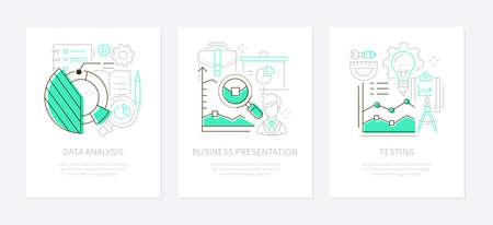 Analytics concept - line design style banners set Illustration