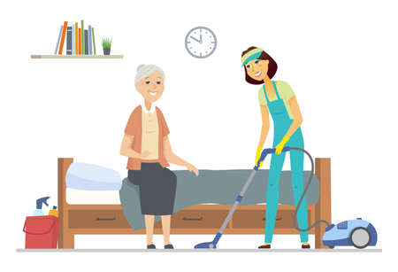 Cleaner helping senior woman - flat design style illustration