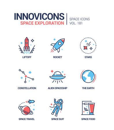 Space exploration - line design style icons set