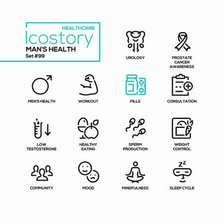 Man health - vector line design style icons set