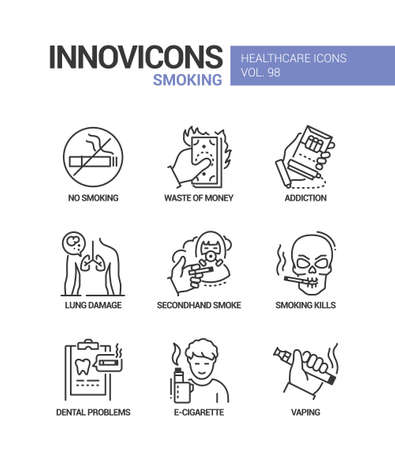 Smoking - vector line design style icons set