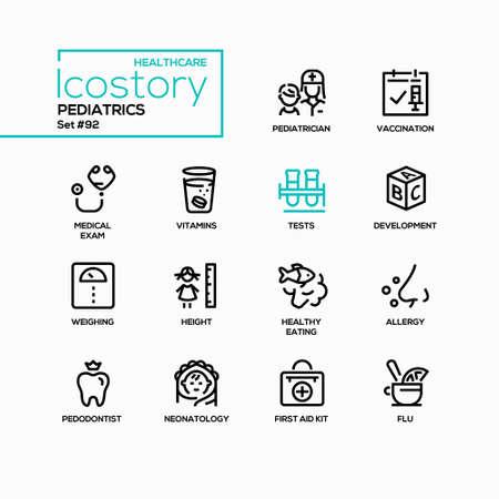 Pediatrics - vector line design style icons set