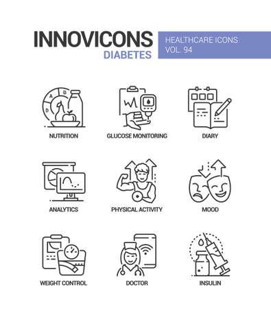 Diabetes - vector line design style icons set
