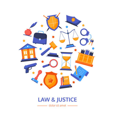 Law and justice - vector flat design style banner