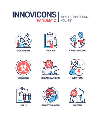 Pandemic - vector line design style icons set Vektorgrafik