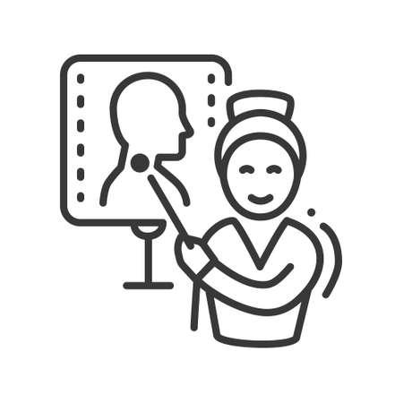 Endocrinologist - vector line design single isolated icon