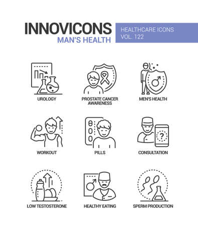 Man health - vector line design style icons set