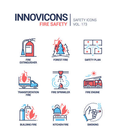 Fire safety - modern line design style icons set
