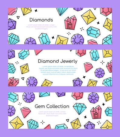 Gem collection - set of line design style web banners