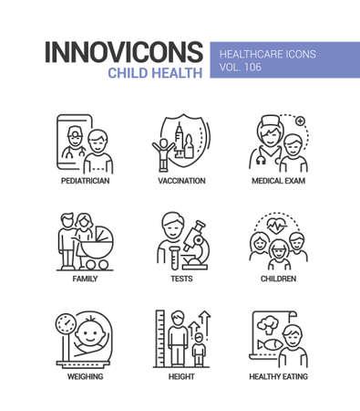 Child health - vector line design style icons set Vector Illustration