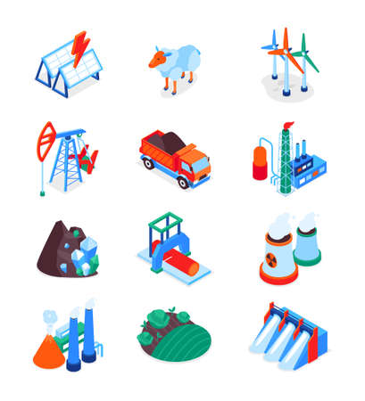 Industry and environment - modern colorful isometric icons set