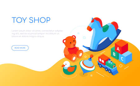 Toys shop - modern colorful isometric web banner Vettoriali