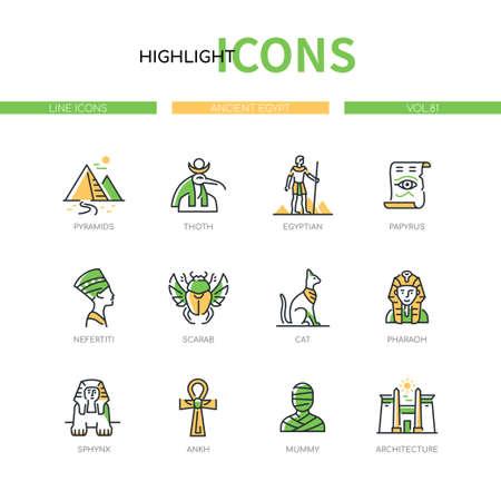Ancient Egypt - modern line design style icons set 向量圖像