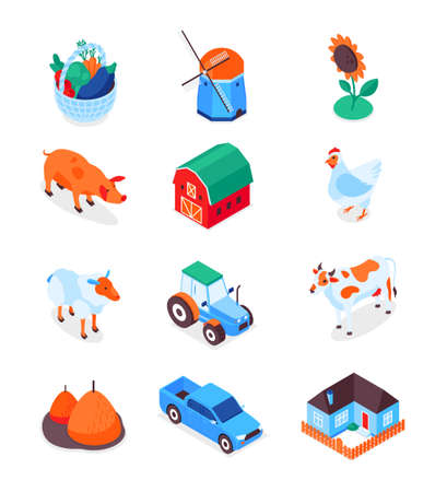 Farming and agriculture - modern isometric icons set