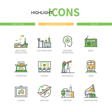 Modern history - line design style icons set Ilustracja