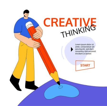 Creative thinking - modern colorful flat design style web banner