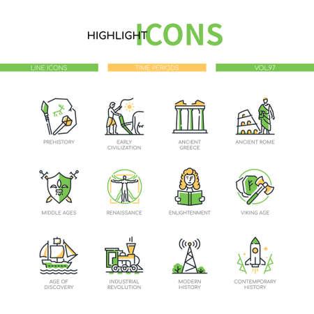 Time periods - line design style icons set Vektoros illusztráció