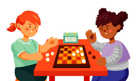 Children playing checkers - colorful flat design style illustration