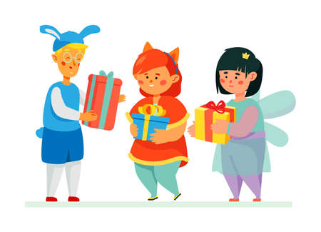 Happy children getting presents - colorful flat design style illustration