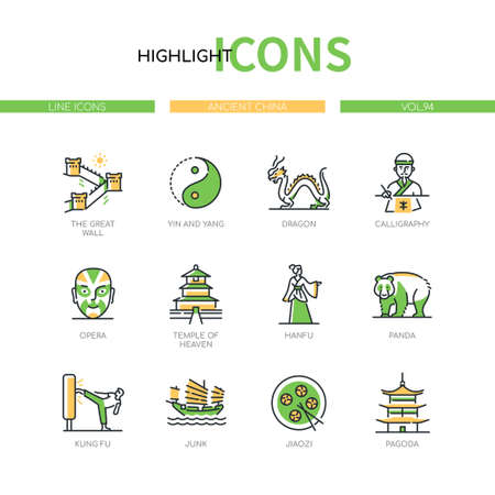 Ancient China - modern line design style icons set