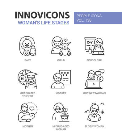 Life stages of a woman - line design style icons set