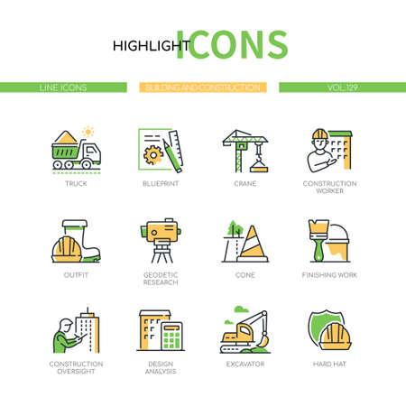 Building and construction - modern line design style icons set
