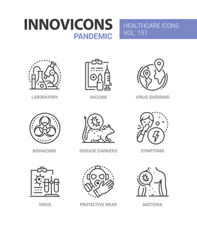 Pandemic - vector line design style icons set
