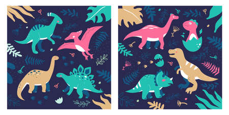 Different dinosaurs - set of flat design style illustrations