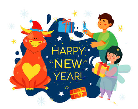 Children celebrating New Year 2021 - colorful flat design style illustration