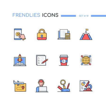 Workflow management modern line design style icons set Vector Illustration