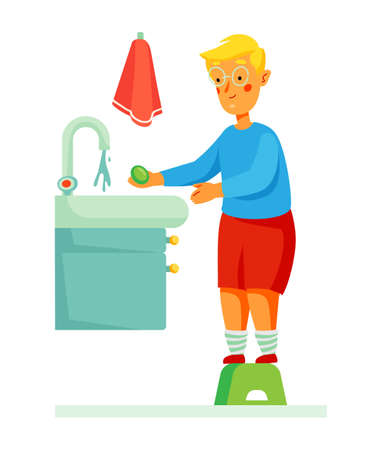 Boy washing his hands - colorful flat design style illustration Illustration
