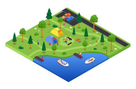 Camping and tourism - vector colorful isometric illustration 일러스트