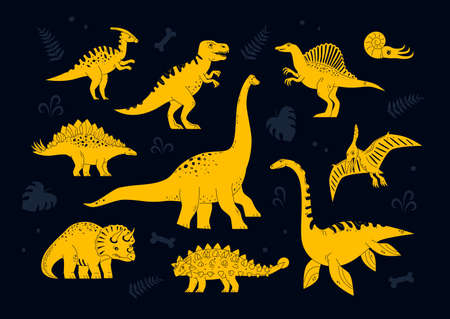 Dinosaurs collection - set of flat design style characters