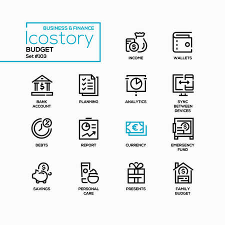 Budget - vector line design style icons set