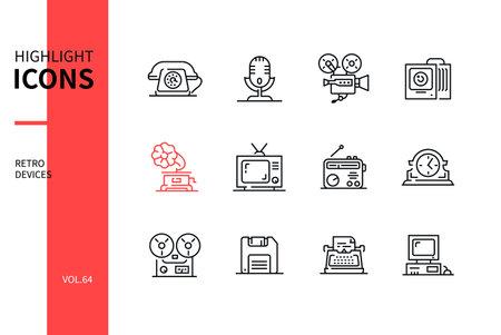 Retro devices - line design style icons set