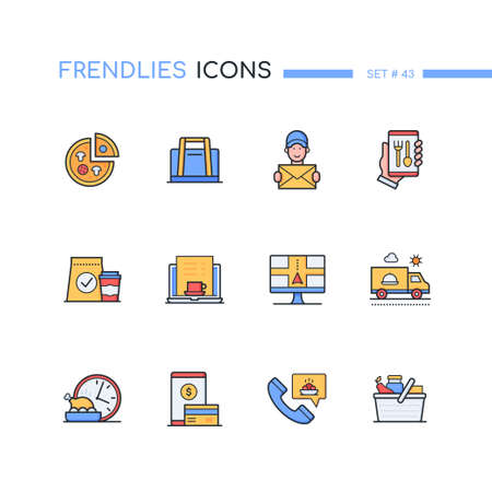 Food delivery - modern line design style icons set