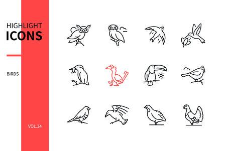 Bird species - line design style icons set Ilustração Vetorial