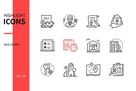 Real estate - modern line design style icons set Vecteurs