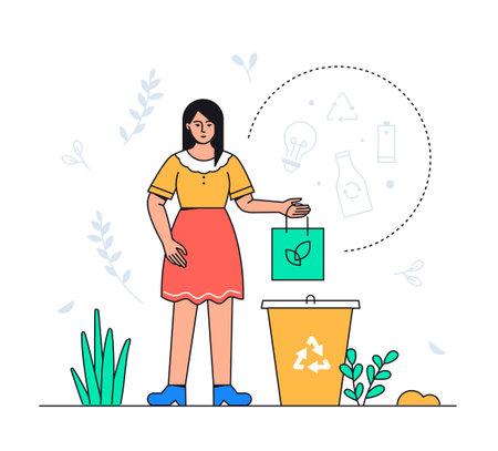 Waste sorting - colorful flat design style illustration