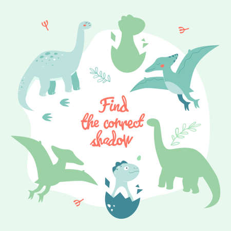 Learning game with dinosaurs - flat design style poster