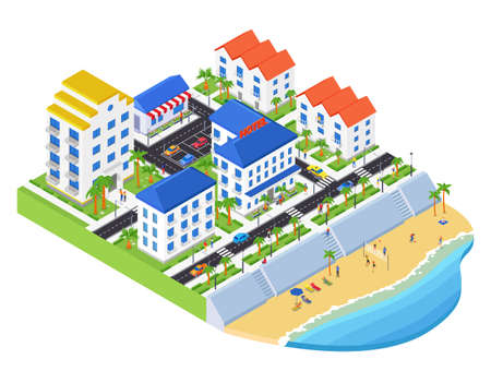 Coastal city - modern vector colorful isometric illustration