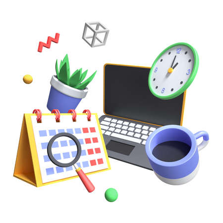 Time management - modern colorful realistic 3d illustration