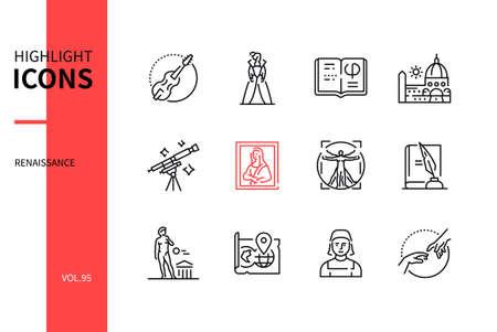 Renaissance - modern line design style icons set