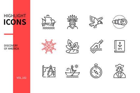 Discovery of America - modern line design style icons set Vektorgrafik