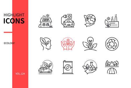 Ecology concept - line design style icons set Ilustração Vetorial
